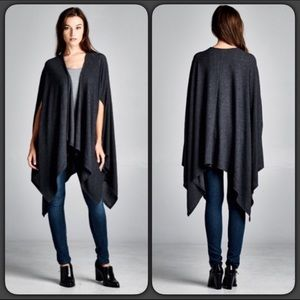 Sweaters - Charcoal Knit Poncho Open Cape Sweater - Med